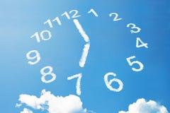 7 klockan i molnstil på blå himmel Arkivfoto