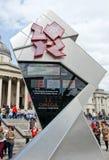 klockanedräkninglondon olympiska spel Arkivbilder
