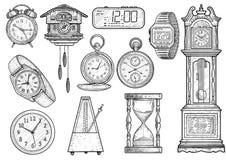 Klockasamlingsillustration, teckning, gravyr, färgpulver, linje konst, vektor royaltyfri illustrationer