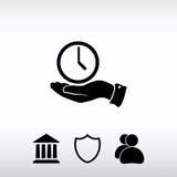 Klockasymbol, vektorillustration Sänka designstil Arkivbild