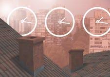 Klockasymboler över tak och stad Fotografering för Bildbyråer