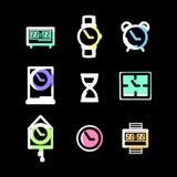 Klockatecken och symbolvektoruppsättning Royaltyfri Fotografi