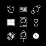 Klockatecken och symbolvektoruppsättning Fotografering för Bildbyråer