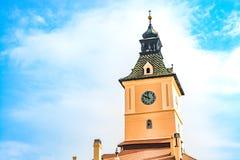 Klockatorn av museet av historia i Brasov, Rumänien arkivfoto