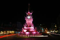 Klockatorn i Chiang Rai, Thailand Arkivfoto