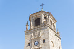 Klockatorn i den Andalucia fyrkanten, Ubeda, Jaen, Spanien Arkivbild