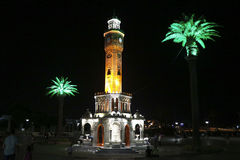Klockatorn i den Konak fyrkanten, Izmir, Turkiet Arkivbilder