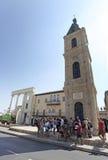 Klockatorn i gamla Yaffo, Israel Royaltyfri Foto