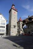Klockatorn i Lucerne Royaltyfri Foto