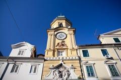 Klockatorn i Rijeka, Kroatien Royaltyfri Bild
