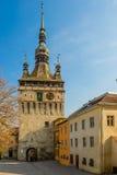 Klockatorn i Sighisoara, Rumänien Fotografering för Bildbyråer