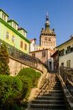 Klockatorn i Sighisoara, Transylvania Arkivfoto