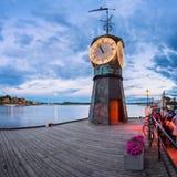 Klockatorn på Aker Brygge i Oslo, Norge Royaltyfria Foton