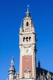 Klockatorn på Chambren de kommers i Lille, Frankrike Royaltyfri Fotografi