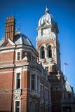 Klockatorn på det Eastbourne stadshuset i Sussex Arkivfoto