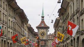 Klockatorn, stadens västra port, Bern, Schweiz Arkivbild