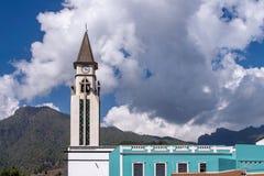 Klockatornet av kapellet av Nuestra Senora de Bonanza i El Paso, La Palma, kanariefågelöar, Spanien fotografering för bildbyråer