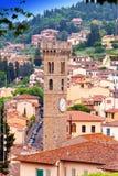 Klockatornet, Florence (Italien). Slut upp i en solig dag Royaltyfria Bilder