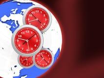 klockavärld stock illustrationer