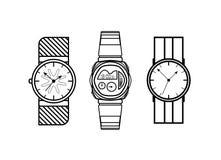 Klockavektorlinjer symbolsmodestil på vit bakgrund Royaltyfri Fotografi