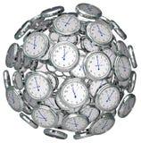 Klockor i sfären Tid som håller närvarande framtid för forntid Royaltyfri Foto