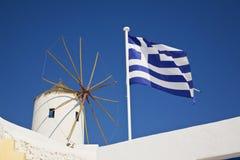 klockor kyrktar den greece santorinien Royaltyfri Fotografi