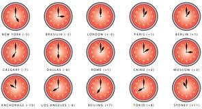 Klockor med tidszonen Arkivfoto