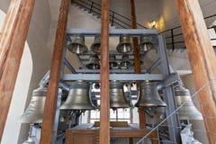 Klockor och klockspel av klockstapeln av Peter och Paul Cathedral fästning paul peter Fotografering för Bildbyråer