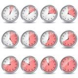 Klockor som visar olik tid arkivfoto