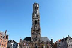 Klockstapel av Bruges i Belgien Royaltyfria Bilder