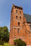 Klockstapel av kyrkan för St Stanislaus (1521) i den Swiecie staden, Polen Arkivfoton
