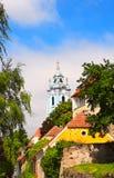 Klockstapel av kyrkliga Maria Himmelfahrt, Durnstein, Österrike Fotografering för Bildbyråer