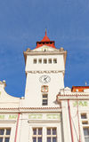 Klockstapel av stadshuset i Stara Boleslav, Tjeckien fotografering för bildbyråer