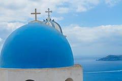 Klockstapel och caldera av den Santorini ön, Grekland royaltyfri foto