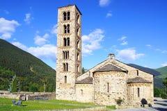 Klockstapel och kyrka St Clement av Tahull spain Royaltyfri Fotografi