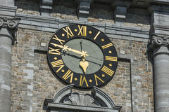 Klockstapeln av Mons, Belgien Arkivfoto