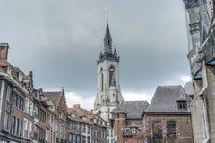 Klockstapeln (franska: beffroi) av Tournai, Belgien Arkivbild