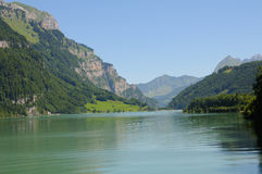 Kloentalersee in the Swiss Alps Royalty Free Stock Photography