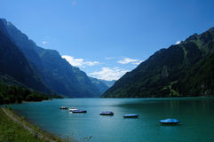 Kloentalersee in the Swiss Alps Stock Photography