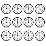 Klok dat elke uurvector toont Stock Foto