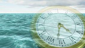 Klok die tegen oceaananimatie tikken stock footage