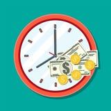 Klok, dollarbankbiljetten en gouden muntstukken vector illustratie