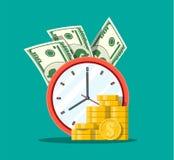 Klok, dollarbankbiljetten en gouden muntstukken stock illustratie