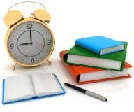 Klok en boeken vector illustratie