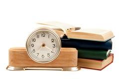 Klok en boeken Royalty-vrije Stock Foto