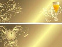Klok en glas. Gotisch ornament voor twee banners Stock Foto's