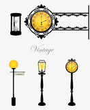 Klok en lampen Royalty-vrije Stock Foto