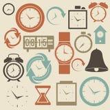 Klok en tijdpictogrammen Stock Afbeelding