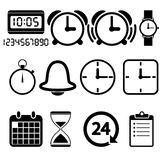 Klok en tijdpictogrammen Stock Fotografie