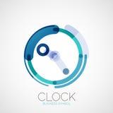 Klok, het embleem van het tijdbedrijf, bedrijfsconcept Stock Foto's